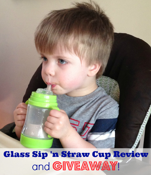Green Sprouts glass sip 'n straw cup review + giveaway