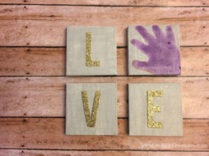 DIY Mini LOVE handprint canvas – perfect for baby's room