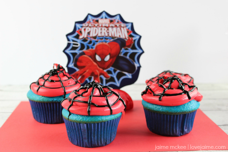 Spider-Man cupcakes - perfect for a fun party theme!