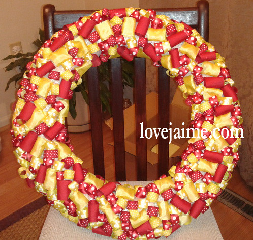 DIY ribbon wreath - red and yellow