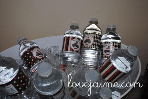 Sock monkey party water bottles