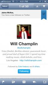 Will Champlin followed me!