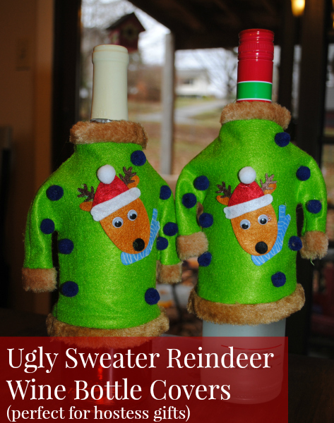 Reindeer sweater for your wine bottle