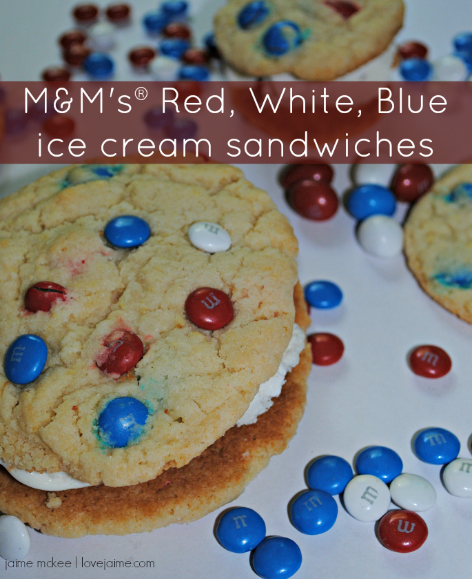 The Red, White & Blue M&M's help make these homemade ice cream sandwiches the perfect patriotic dessert!