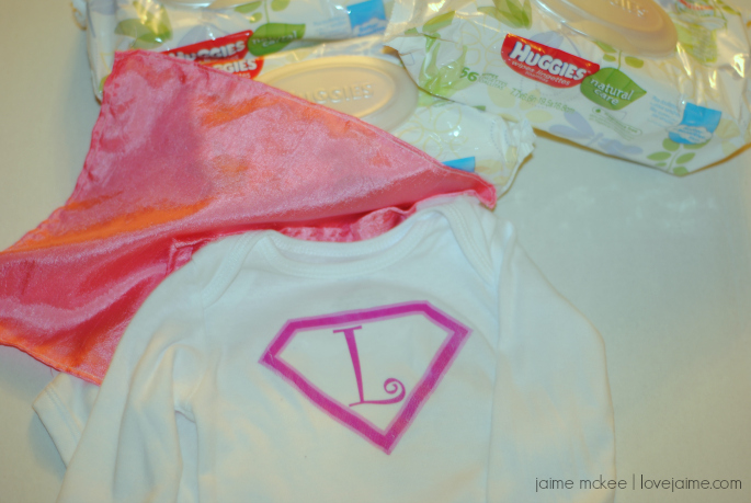 "DIY Superbaby costume with Huggies Natural Wipes & Babies ""R"" Us! #BacktoBabyBasics #ad"