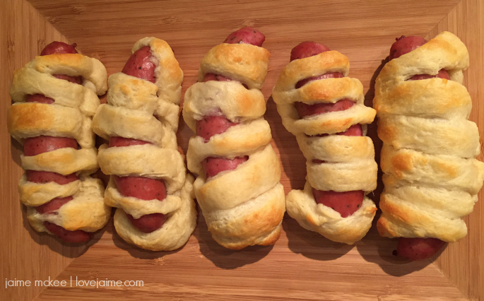 Mummy sausages perfect for Halloween!
