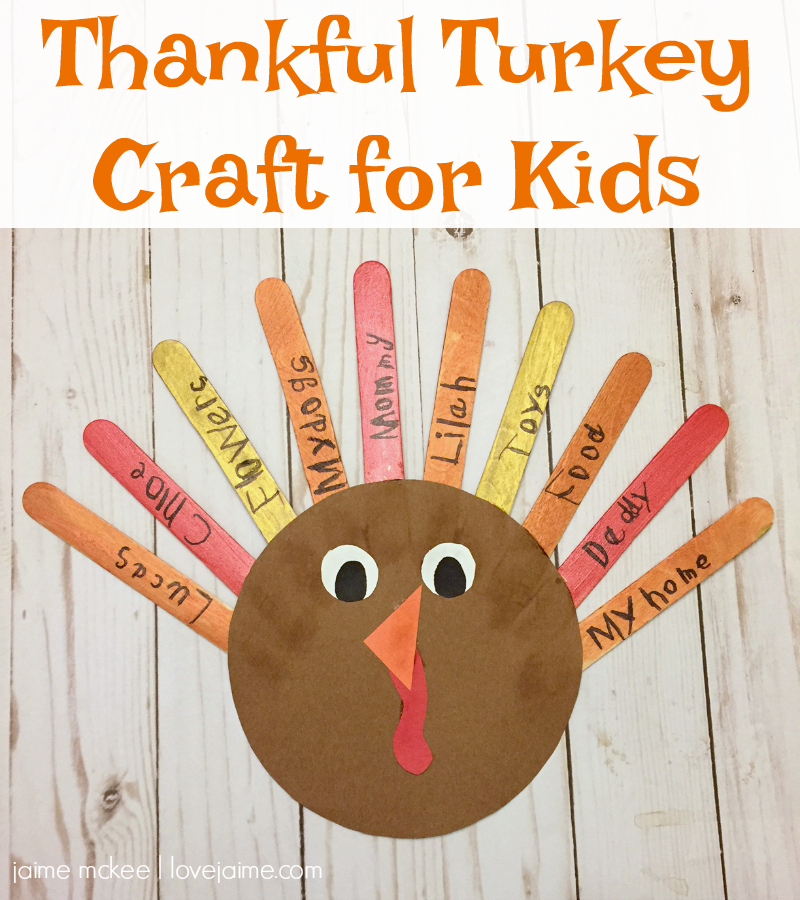 Quick and simple Thankful Thanksgiving Turkey Craft for Kids