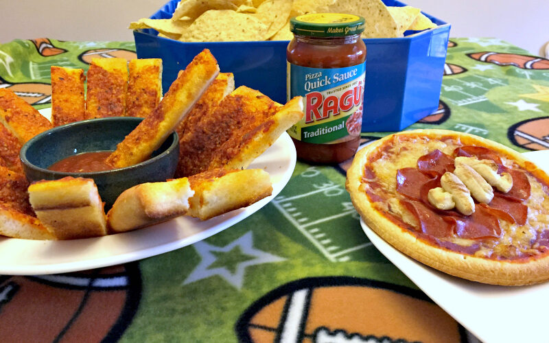 Fill Up With Simple Game Day Football Pizza and Pizza Bread Sticks