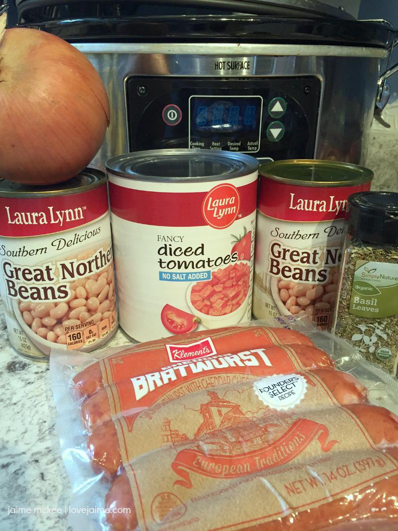 Crock-pot Klement's Cheddar Sausage & White Bean Stew