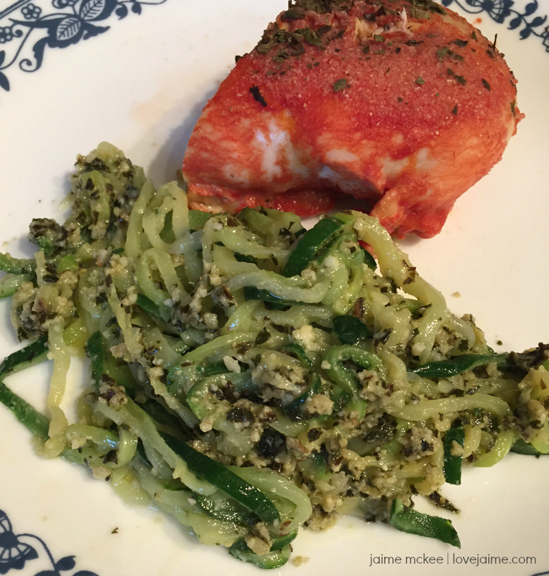 Lower Carb Veggie Spirals with Pesto (and simple Tomato Juice Baked Chicken!)