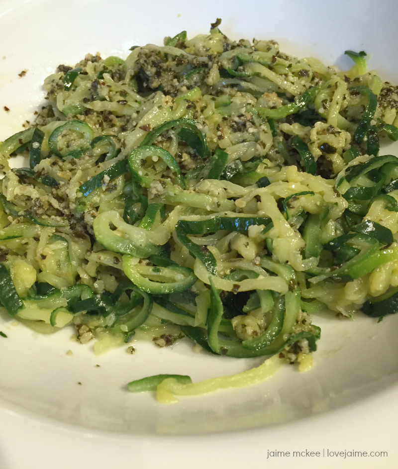 Lower Carb Veggie Spirals with Pesto
