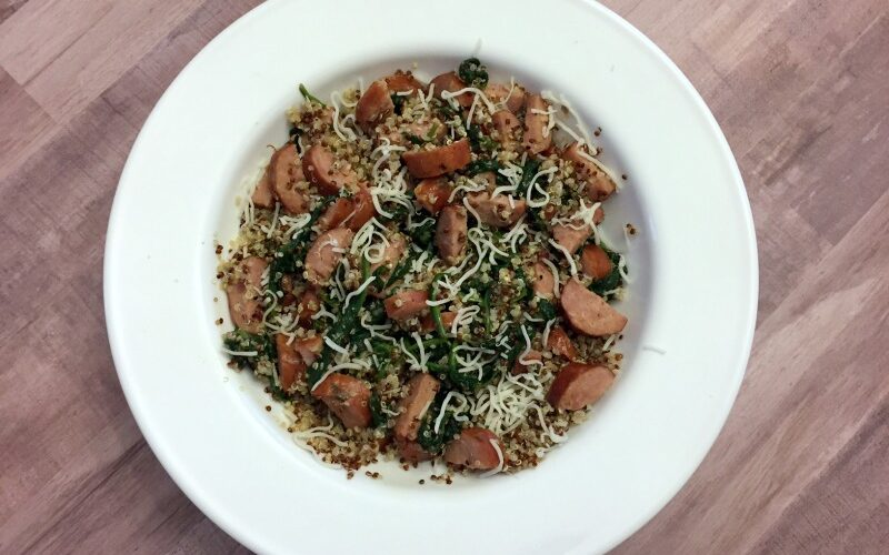 Smoked Sausage with Quinoa and Spinach