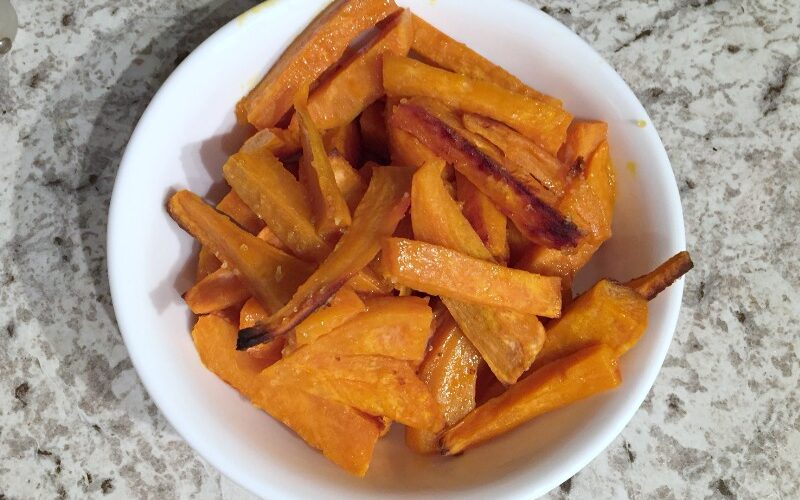 Homemade sweet potato fries with Malaysian Sustainable Palm Oil