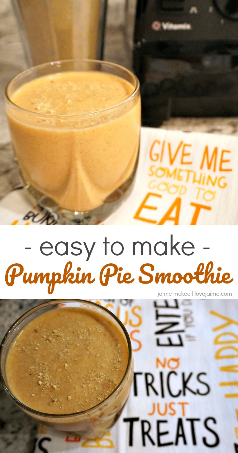 Pumpkin Pie Smoothie is simple with the help of the Vitamix Personal Cup Adapter! This recipe can be made and consumed in one container. #recipe #pumpkin #smoothie