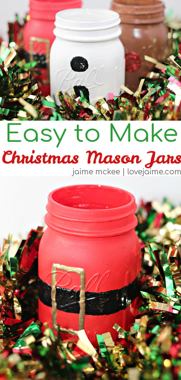 These very easy to make Christmas mason jars are so fun, and the perfect accessory to your holiday decorations! #diy #crafts #Christmas