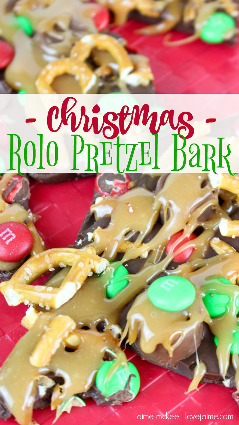 Christmas Rolo Pretzel Bark - perfect for parties or gift-giving. And so simple to make! #desserts #treats #Christmas #holidays
