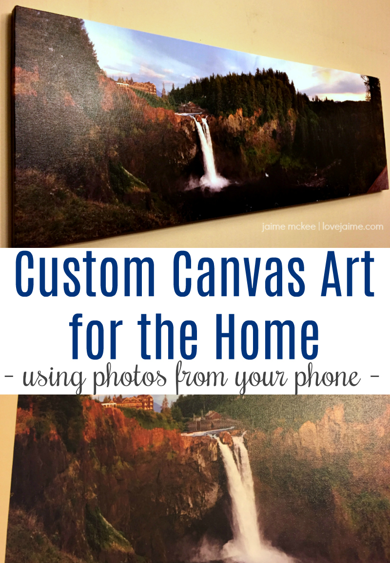 Custom art doesn't have to be expensive. I created this canvas (12 inches x 36 inches) for less than $30 - using a photo from my iPhone! #homedecor #customart #canvasprints