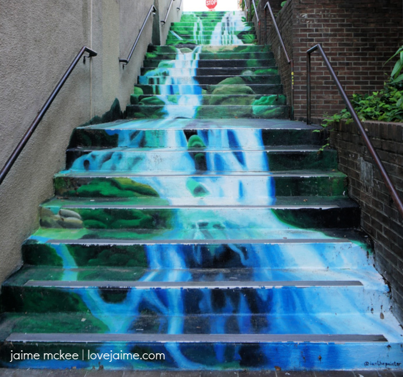 Waterfall stairs in downtown Asheville