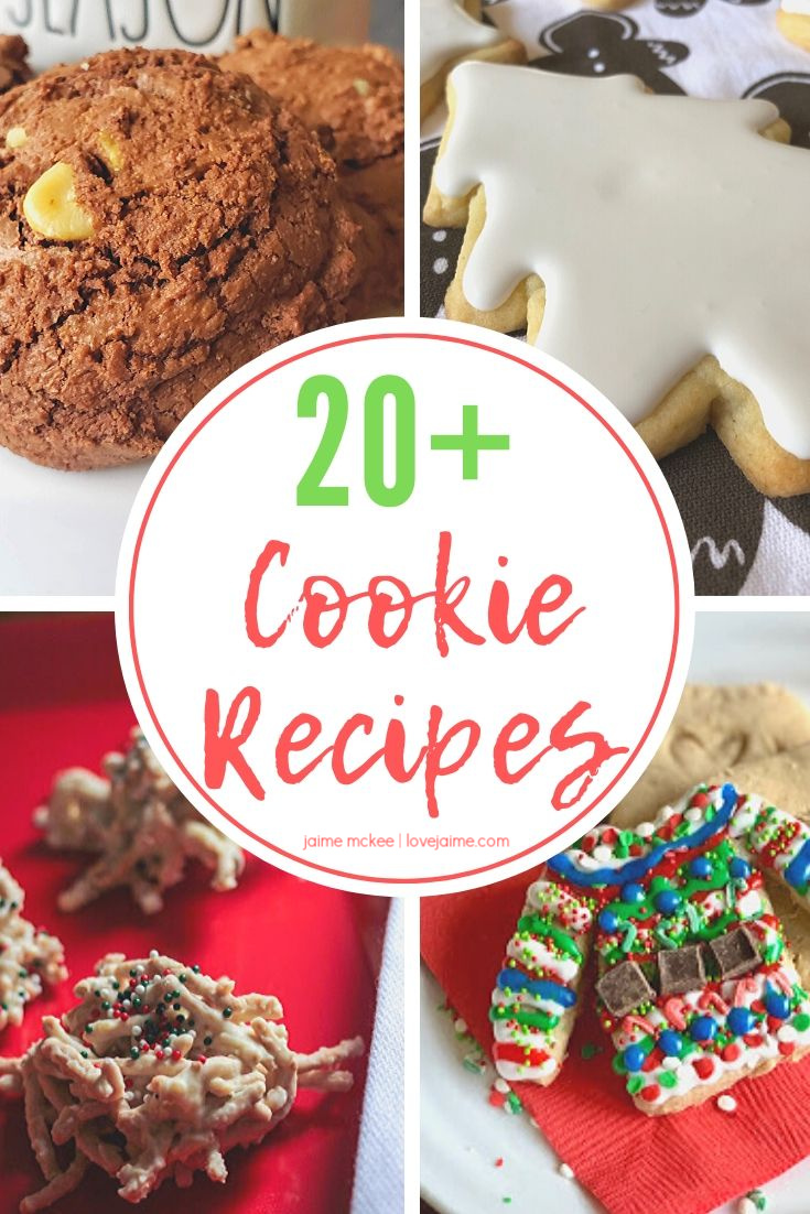 Get all of your Christmas cookie recipes RIGHT HERE with more than 20 cookie recipes! #recipe #Christmas #cookies #HousefulOfCookies