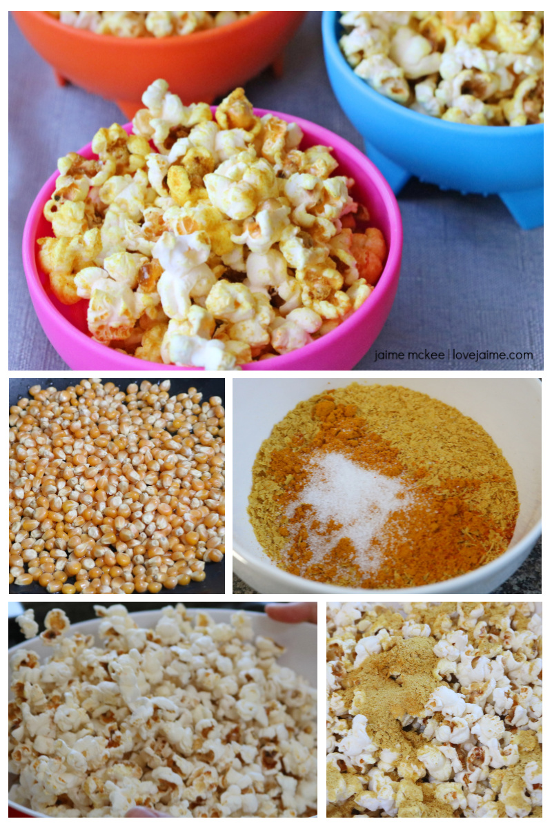 "Step by step for healthy ""cheesy"" popcorn"