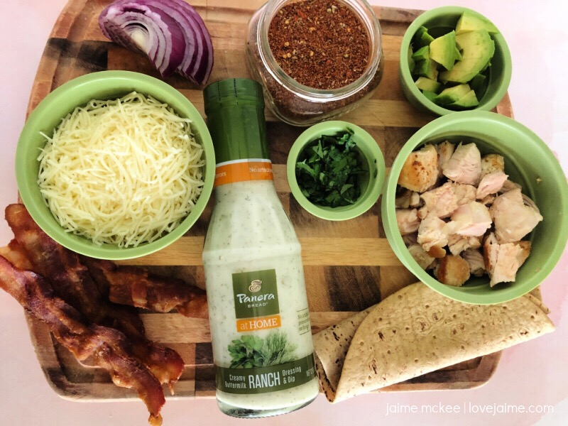 Ingredients for Panera's Chipotle Chicken and Ranch Flatbread recipe