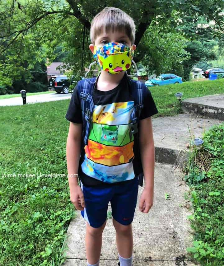Back to School - Third Grade with a mask