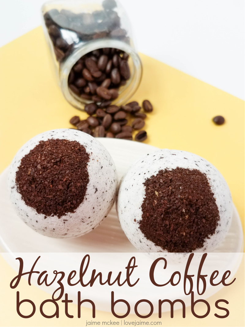 These hazelnut coffee bath bombs smell delicious and have the added benefit of helping to make your skin feel smooth.