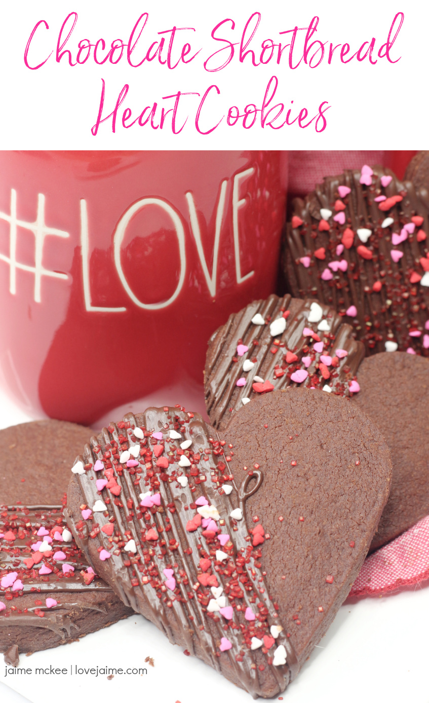 Chocolate Shortbread Hearts Cookies are a fun treat for Valentine's Day!