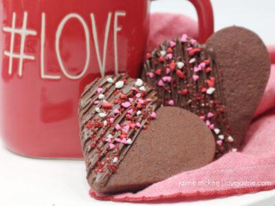 Chocolate Shortbread Hearts Cookies