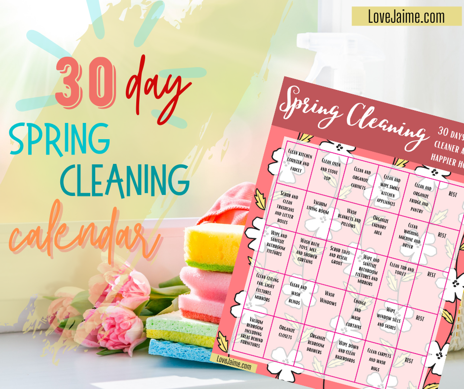 30 Day Spring Cleaning Calendar