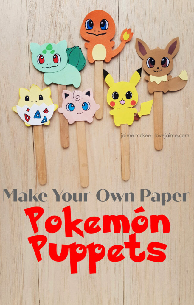 These six paper Pokemon puppets are so fun for little hands and your favorite Pokemon fan.