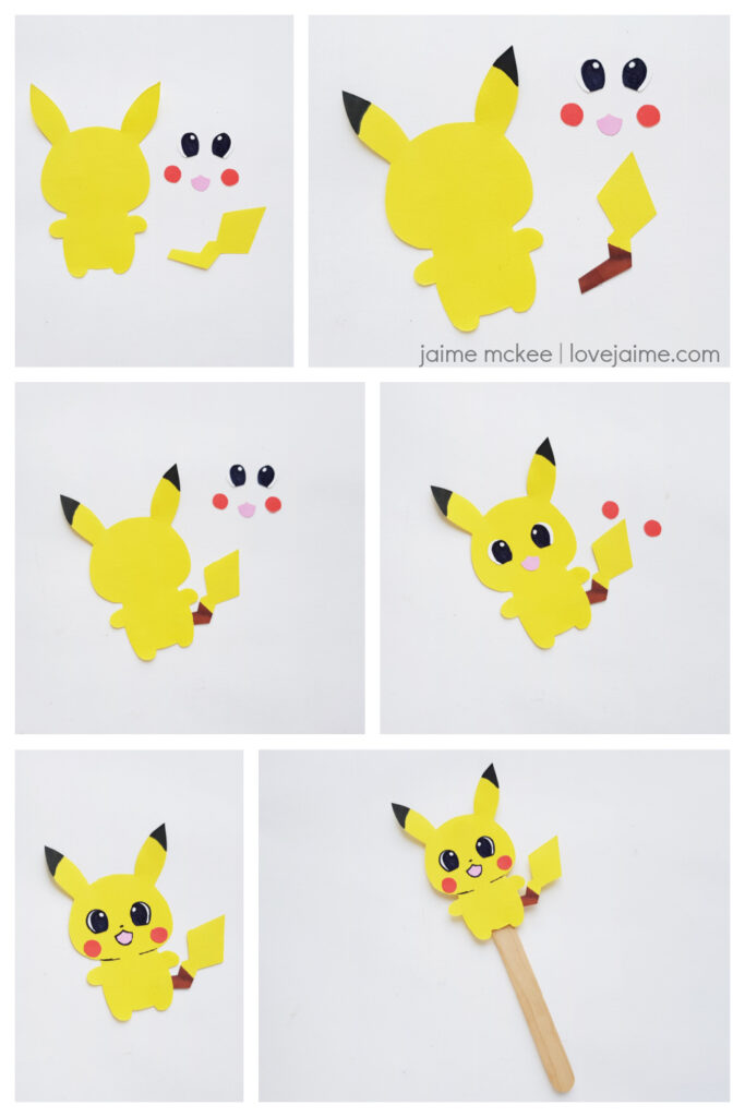 Steps for making paper Pokemon puppets - this one features Pikachu