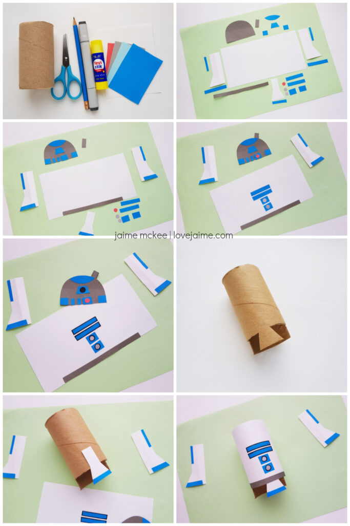 Step by step details for the R2D2 paper craft