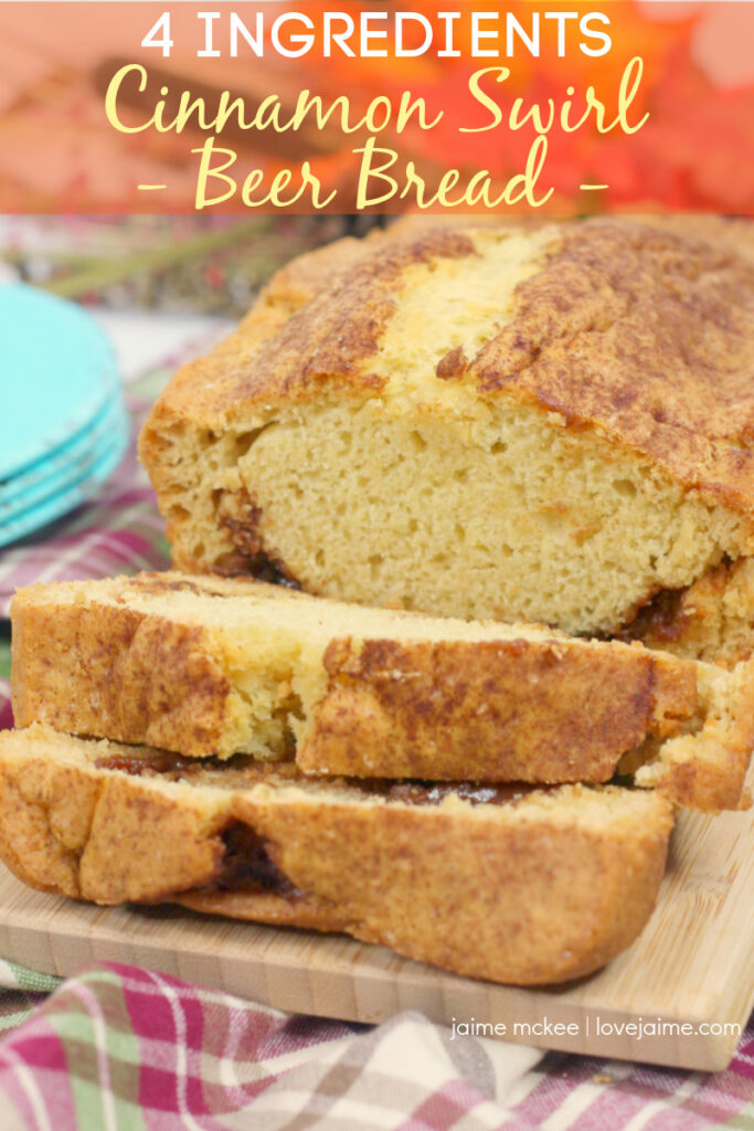 Four ingredients make up this cinnamon swirl beer bread recipe - so simple to make with your kids (and the whole family will love)