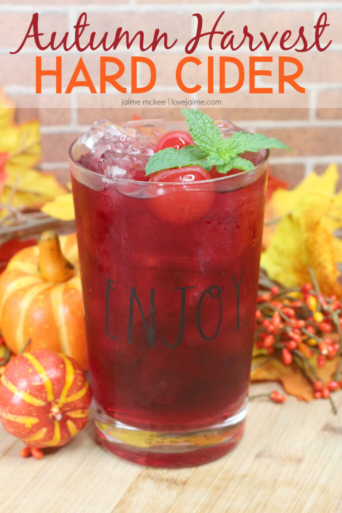 he Autumn Harvest Hard Cider is a fall-inspired cocktail using apple flavored vodka, bourbon and apple cider. Check out this post if you love cocktails, fall and relaxation.
