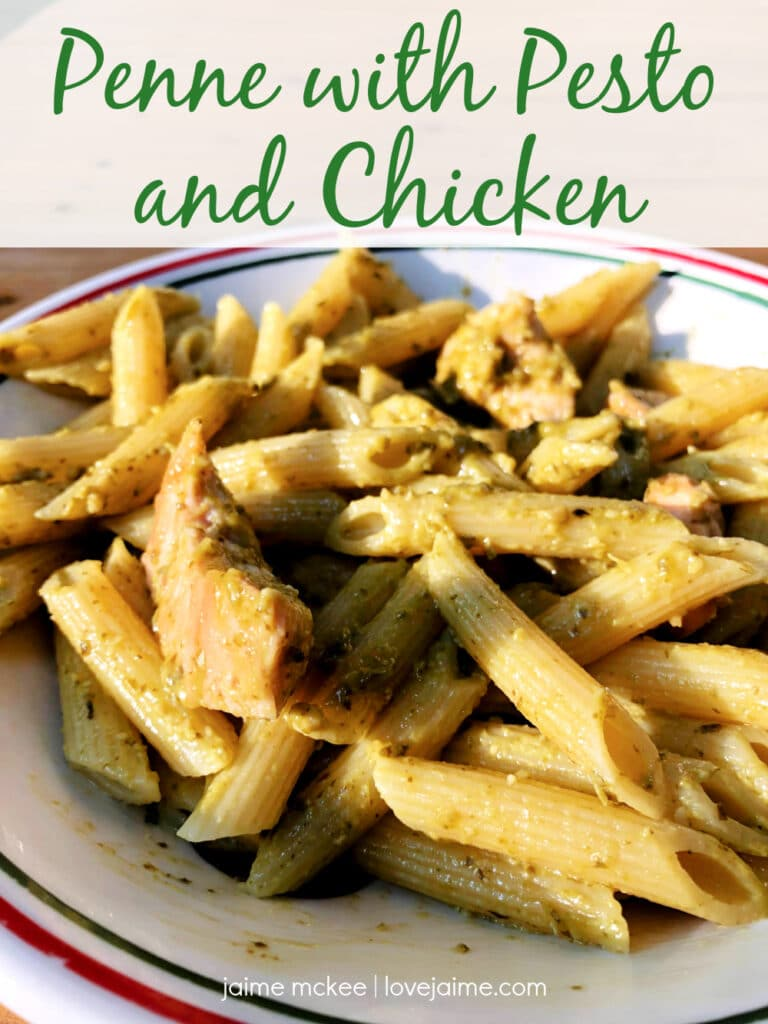 This dinner of penne pasta with pesto and chicken is quick, healthy and kid-approved! Have dinner on the table in under 15 minutes.